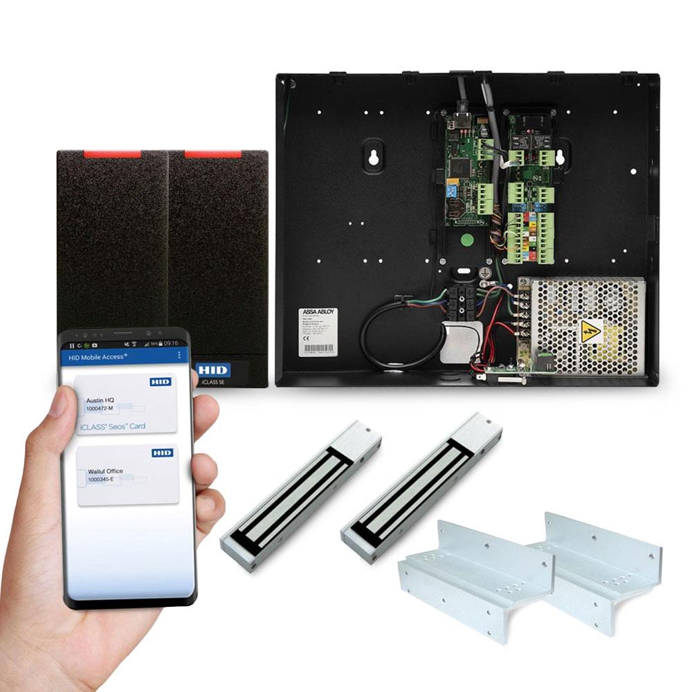 Sistem control acces Assa Abloy Incedo pentru 2 usi unidirectionale KIT-EAC-M50-MID-SUB-T100, card virtual HID, 1.000 utilizatori, 100.000 evenimente, bluetooth, NFC