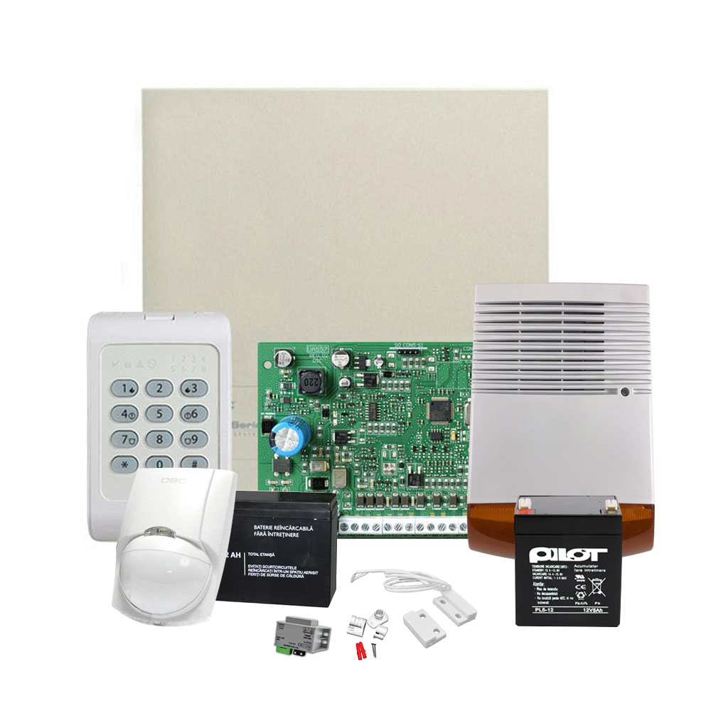 Sistem de alarma antiefractie DSC KIT 1404 EXT SIR, 1 partitie, 4-8 zone, 40 utilizatori imagine