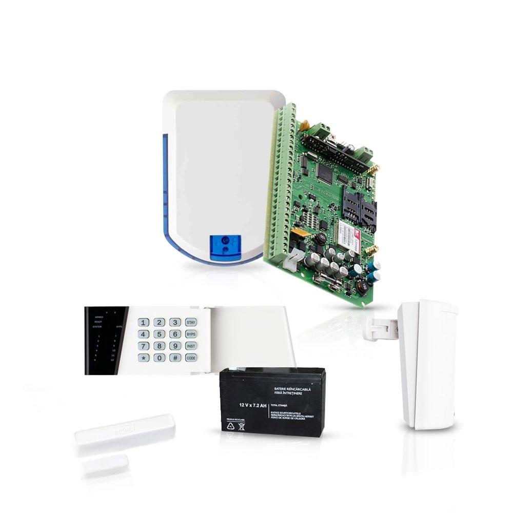Sistem de alarma wireless Eldes, GSM/GPRS, 32 zone, 4 partitii, 1 detector imagine spy-shop.ro 2021