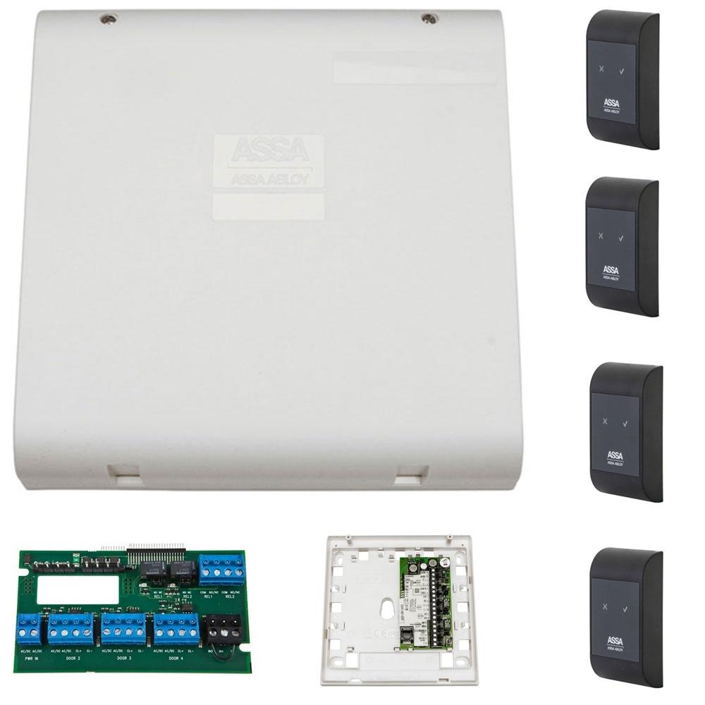 Sistem de control acces pentru 2 usi bidirectionale Assa Abloy RX WEB 9101IV-2B, 100000 carduri, 13.56 MHz imagine spy-shop.ro 2021