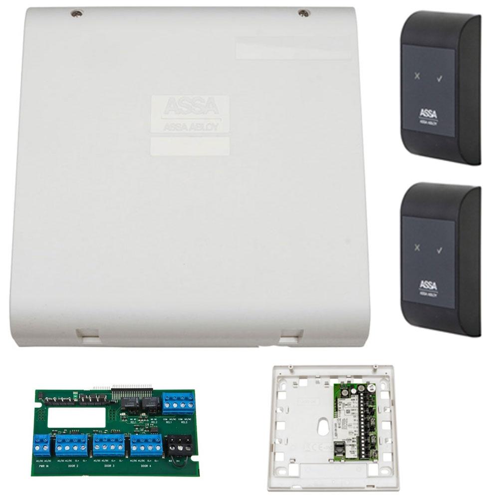 Sistem de control acces pentru 2 usi unidirectionale Assa Abloy RX WEB 9101IV-2U, 100000 carduri, 13.56 MHz imagine spy-shop.ro 2021