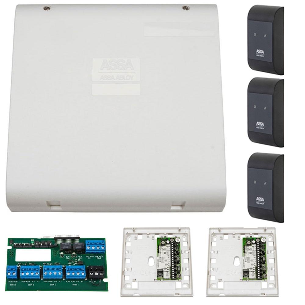 Sistem de control acces pentru 3 usi unidirectionale Assa Abloy RX WEB 9101IV-3U, 100000 carduri, 13.56 MHz imagine spy-shop.ro 2021