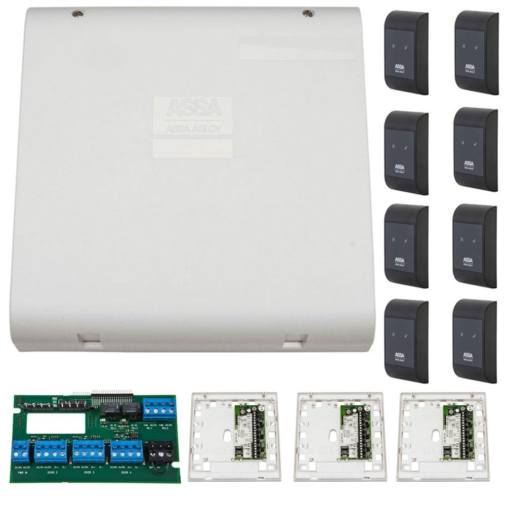 Sistem de control acces pentru 4 usi bidirectionale Assa Abloy RX WEB 9101IV-4B, 100000 carduri, 13.56 MHz imagine spy-shop.ro 2021