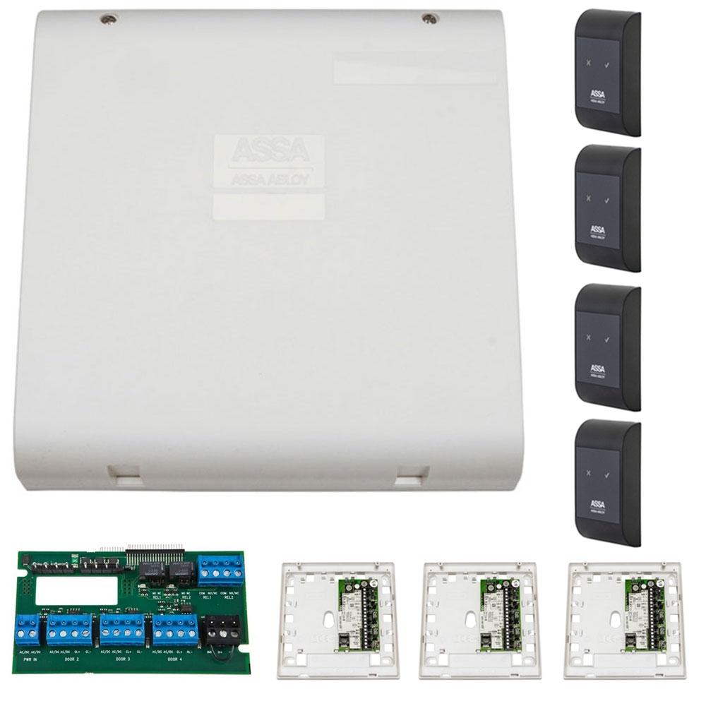 Sistem de control acces pentru 4 usi unidirectionale Assa Abloy RX WEB 9101IV-4U, 100000 carduri, 13.56 MHz imagine spy-shop.ro 2021