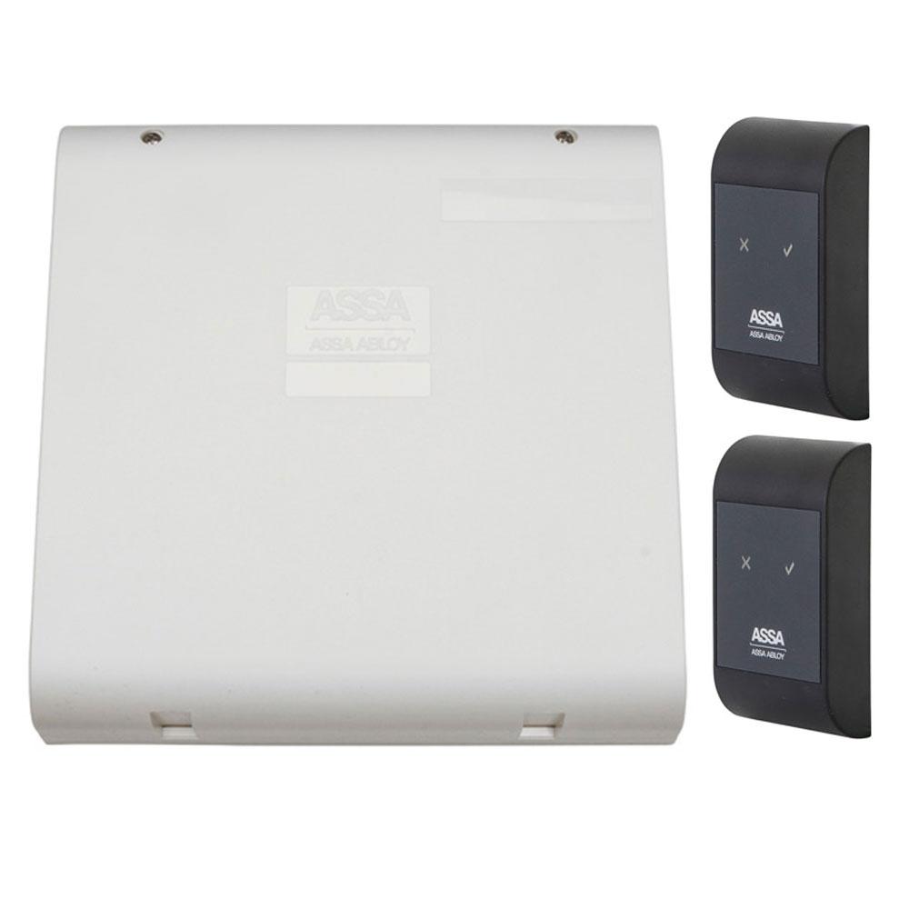 Sistem de control acces pentru o usa bidirectionala Assa Abloy RX WEB 9101IV-1B, 100000 carduri, 13.56 MHz imagine spy-shop.ro 2021