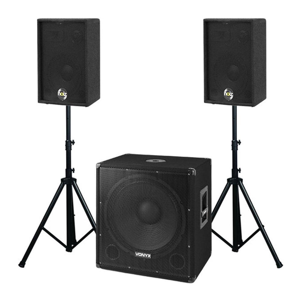 Sistem sonorizare portabil Noiz DJ Set 4 N02299, 1000 W, subwoofer 18 inch, boxe 10 inch, bluetooth, stative