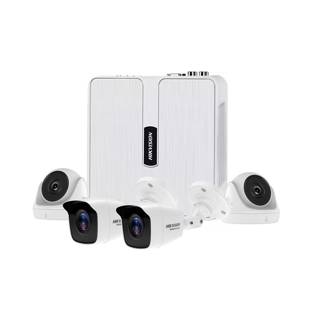 Sistem supraveghere exterior/interior Hikvision HiWatch HWK-T4141M-PP, 2 camere exterior, 2 camere interior, 1 MP, IR 20 m, 2.8 mm, HDD 1 TB inclus