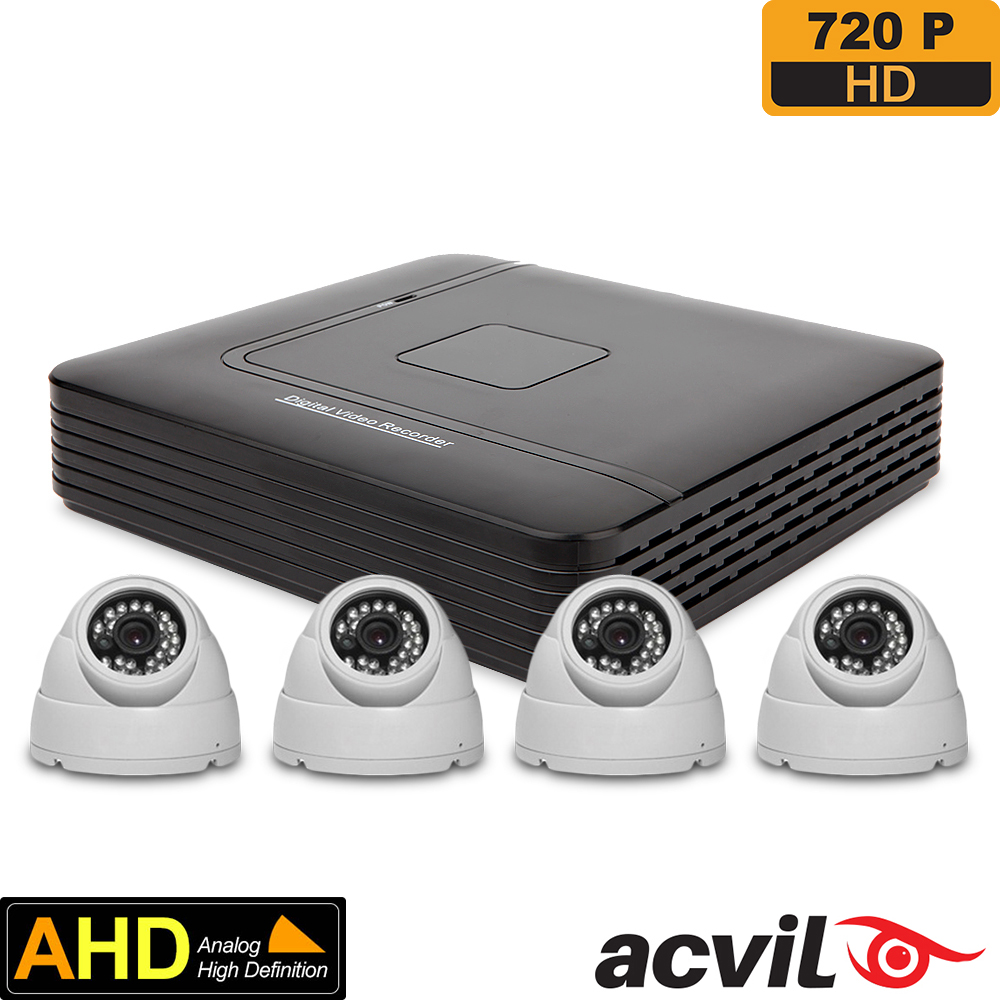 SISTEM SUPRAVEGHERE INTERIOR AHD CU 4 CAMERE VIDEO ACVIL AHD-4INT20-720P-S
