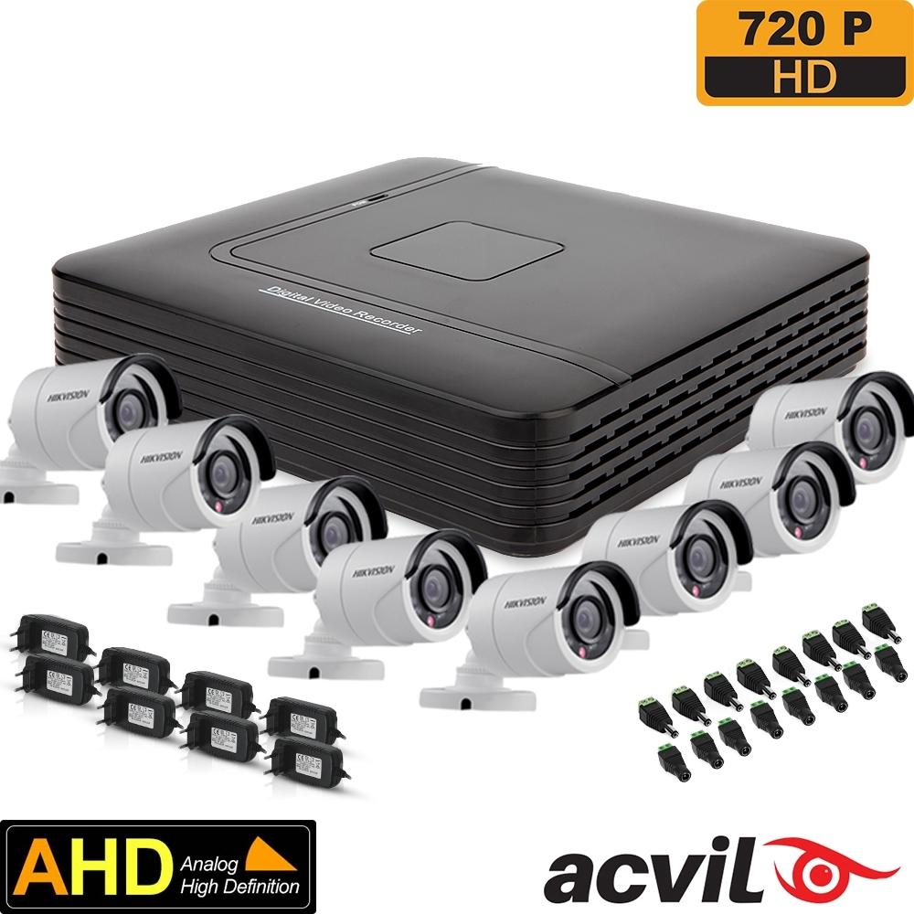 SISTEM SUPRAVEGHERE EXTERIOR AHD CU 8 CAMERE VIDEO ACVIL AHD-8EXT20-720P