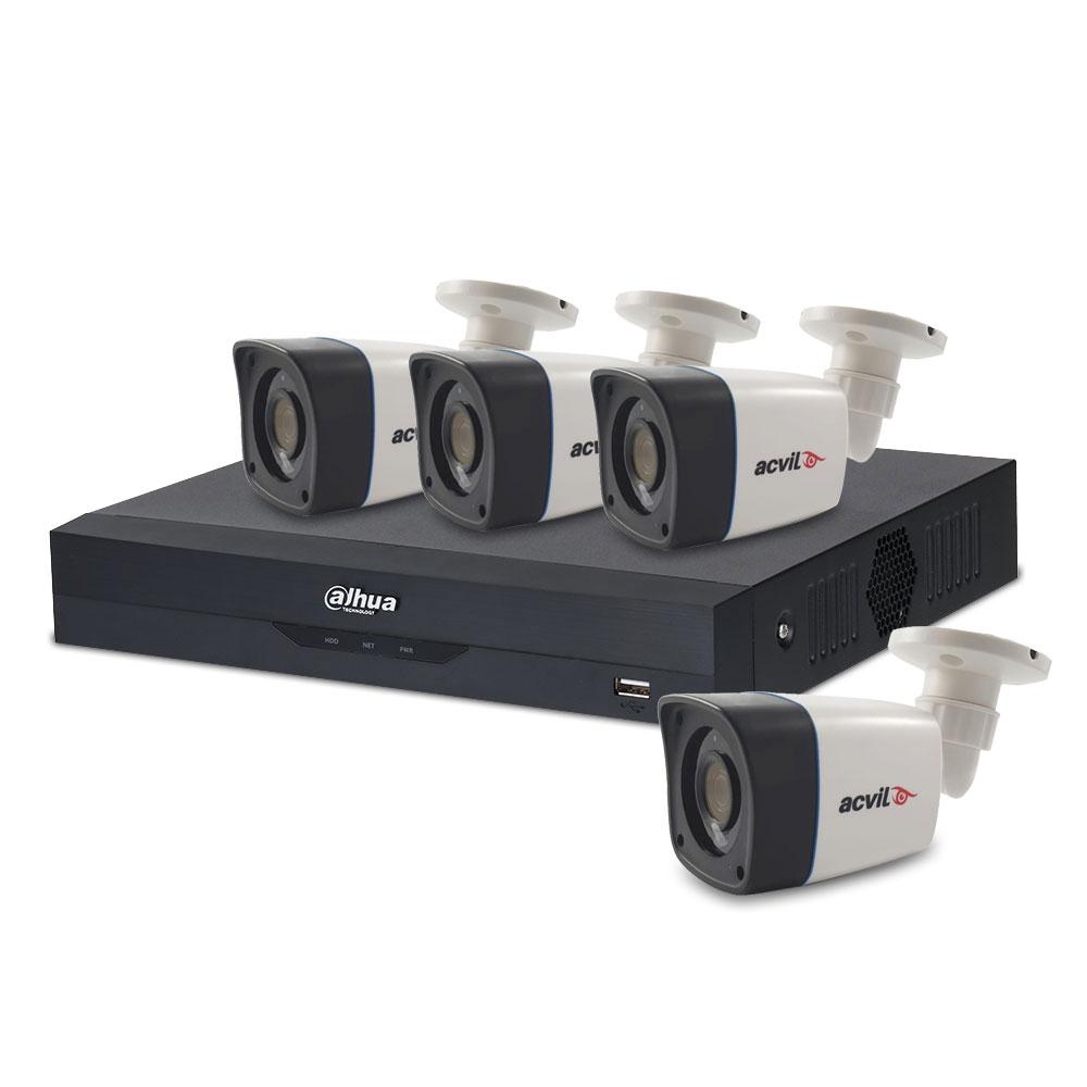 Sistem supraveghere exterior basic Acvil AD-B4EXT20-2MP, 4 camere, 2 MP, IR 20 m, POS, IoT imagine