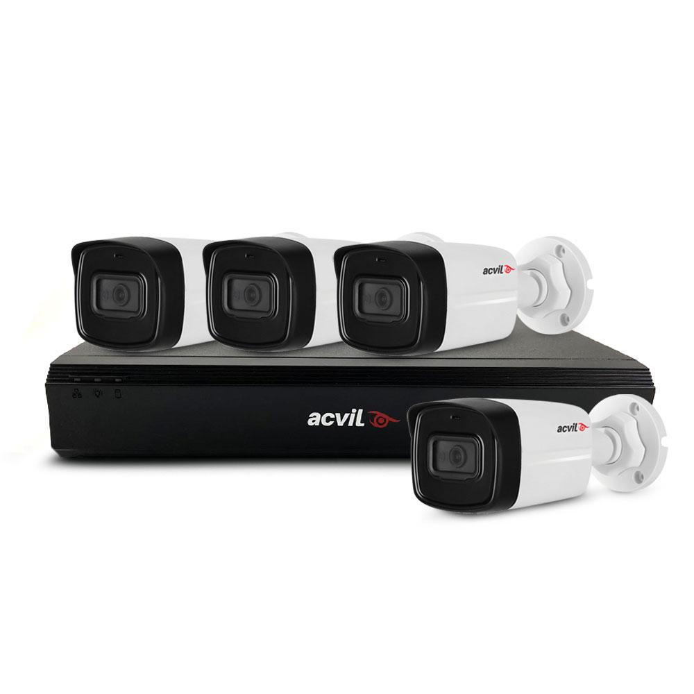 Sistem supraveghere exterior basic Acvil Pro ACV-B4EXT40-5M-V2, 4 camere, 5 MP, IR 40 m, 2.8 mm, PoS imagine spy-shop.ro 2021