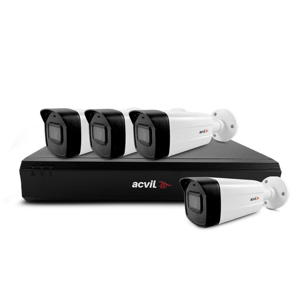 Sistem supraveghere exterior basic Acvil Pro ACV-B4EXT40-4K, 4 camere, 4K, IR 40 m, 2.8 mm, audio prin coaxial imagine spy-shop.ro 2021