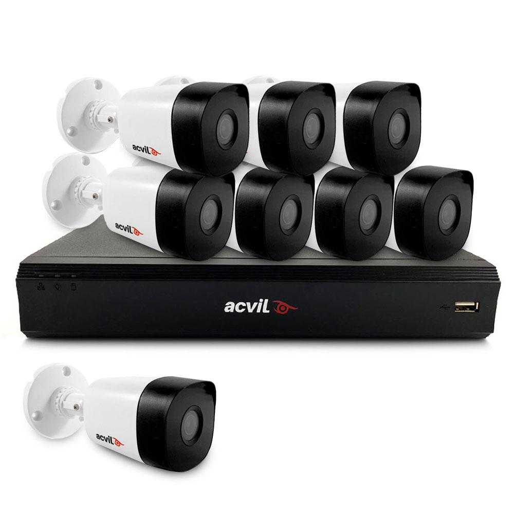Sistem supraveghere exterior basic Acvil Pro ACV-B8EXT20-5MP-V2, 8 camere, 5 MP, IR 20 m, 2.8 mm, audio prin coaxial