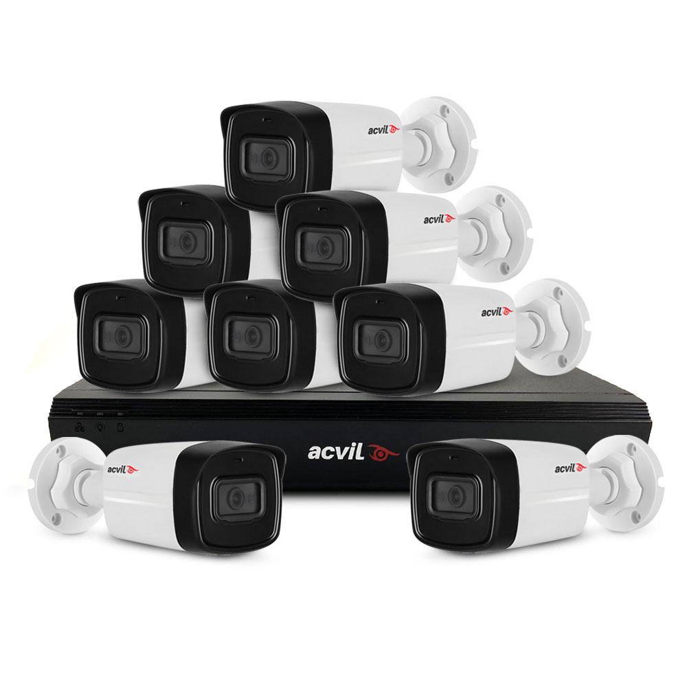 Sistem supraveghere exterior basic Acvil Pro Starlight ACV-B8EXT80-2MP-A, 8 camere, 2 MP, IR 80 m, 3.6 mm, audio prin coaxial, microfon imagine spy-shop.ro 2021