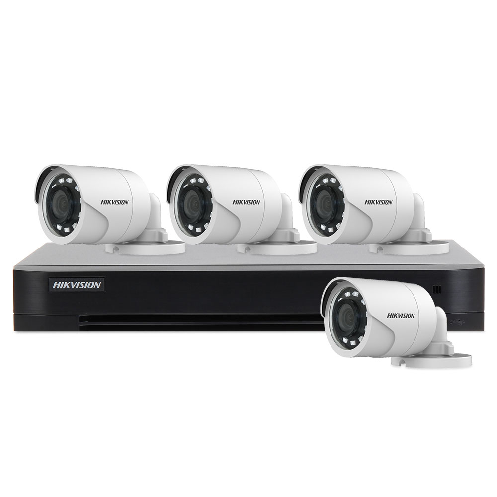 Sistem supraveghere exterior basic Hikvision Turbo HD HK-4EXT20M-2MP, 4 camere, 2 MP, IR 20 m, 2.8 mm