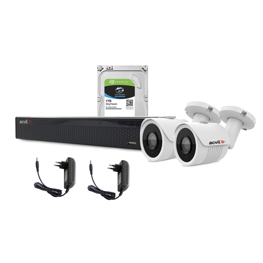Sistem supraveghere exterior complet Acvil C2EXT30-2MP, 2 camere, 2 MP, IR 30 m
