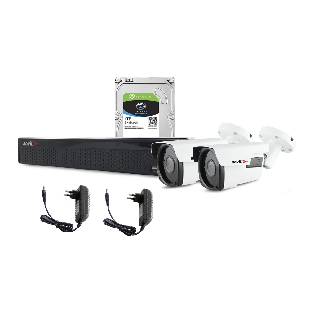 Sistem supraveghere exterior complet Acvil C2EXT40-5MP, 2 camere, 5 MP, IR 40 m