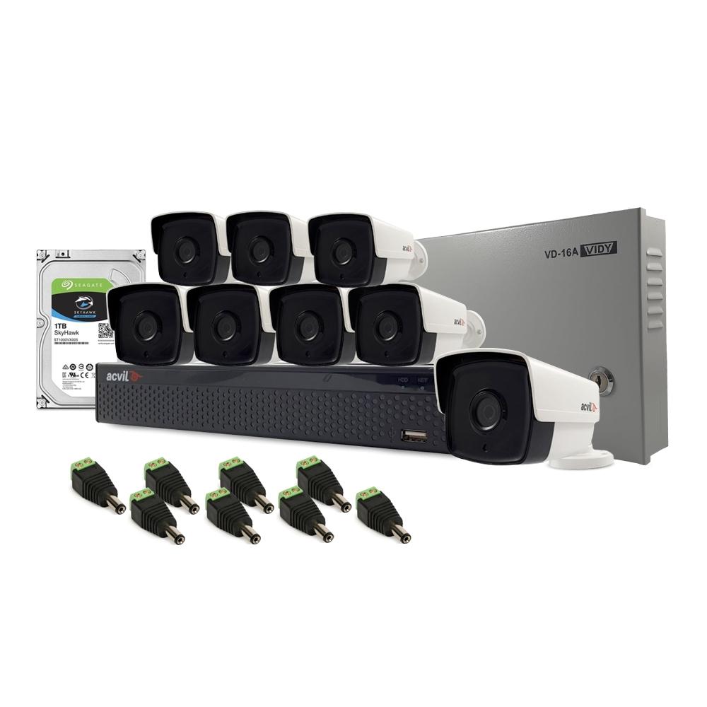 Sistem supraveghere exterior complet Acvil C8EXT80-2MP, 8 camere, 2 MP, IR 80 m