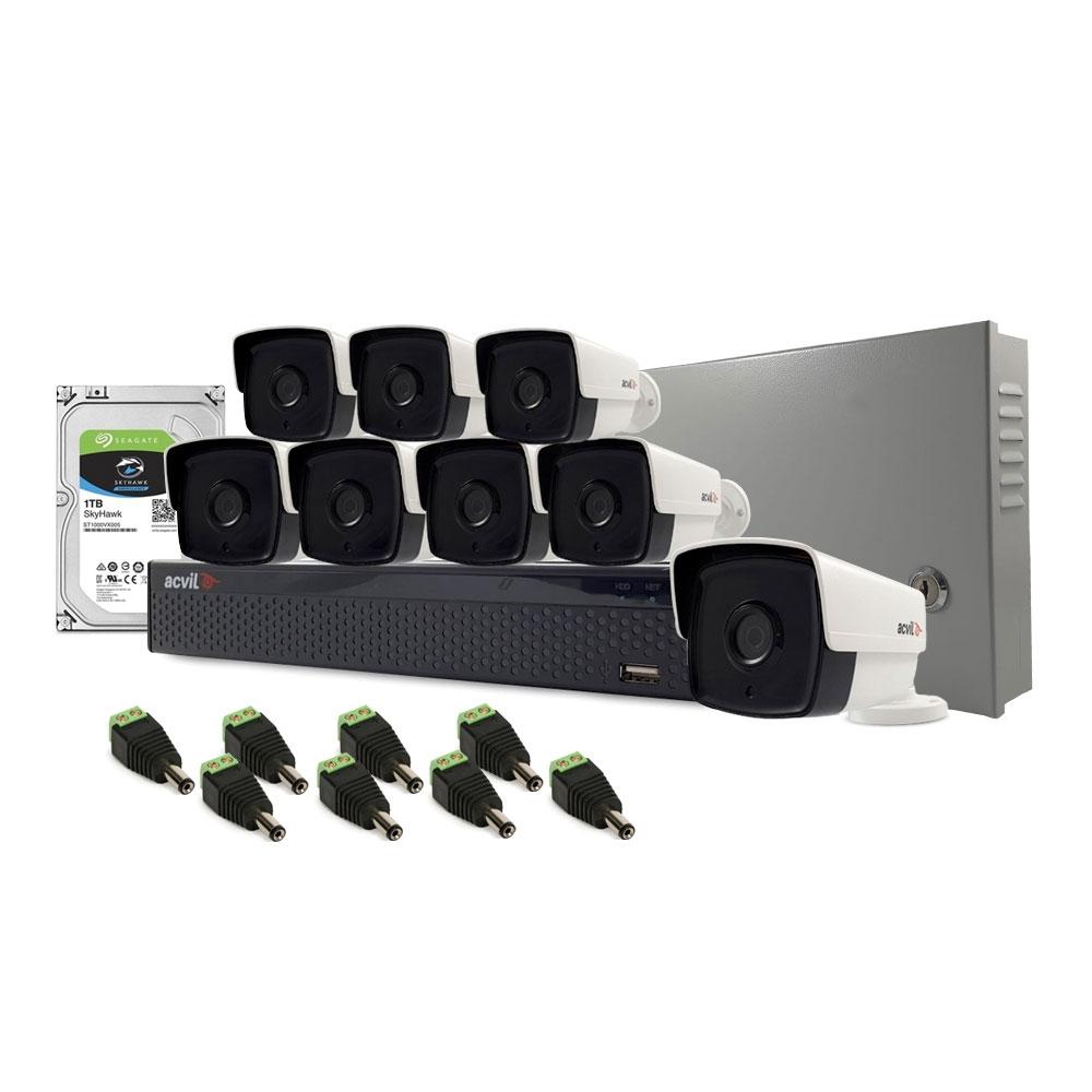 Sistem supraveghere exterior complet Acvil C8EXT80-2MP, 8 camere, 2 MP, IR 80 m imagine