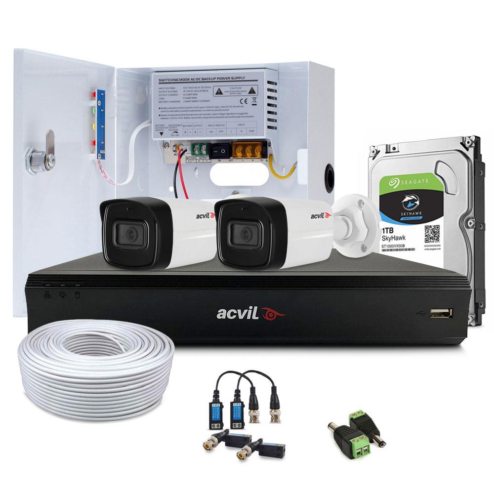 Sistem supraveghere exterior complet Acvil Pro ACV-C2EXT40-2MP-V2, 2 camere, 2 MP, IR 40 m, 2.8 mm, PoS, audio prin coaxial