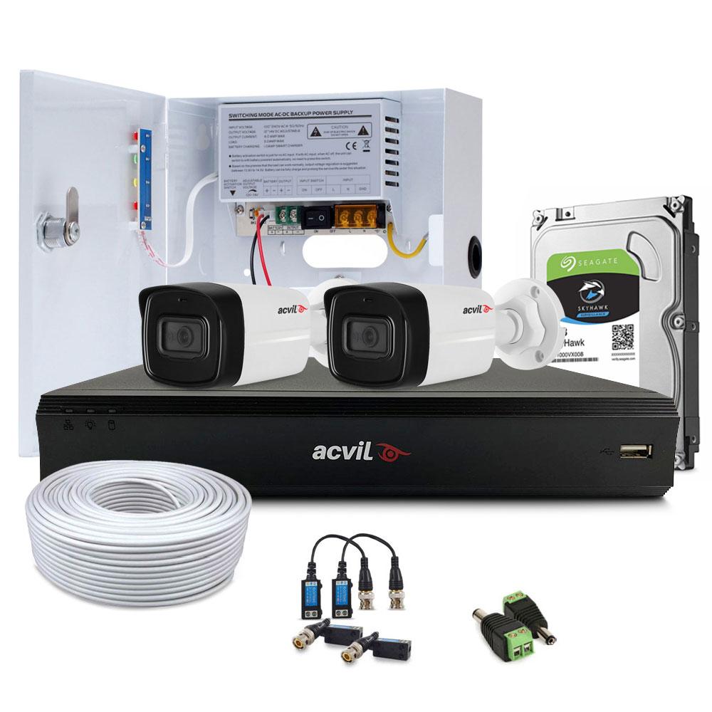 Sistem supraveghere exterior complet Acvil Pro ACV-C2EXT40-5M-V2, 2 camere, 5 MP, IR 40 m, 2.8 mm, POS imagine spy-shop.ro 2021