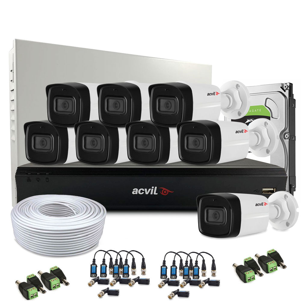 Sistem supraveghere exterior complet Acvil Pro ACV-C8EXT40-2MP-V2, 8 camere, 2 MP, IR 40 m, 2.8 mm, audio prin coaxial imagine spy-shop.ro 2021