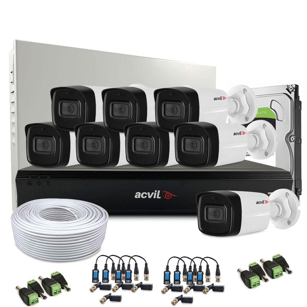 Sistem supraveghere exterior complet Acvil Pro ACV-C8EXT40-5M-V2, 8 camere, 5 MP, IR 40 m, 2.8 mm imagine spy-shop.ro 2021