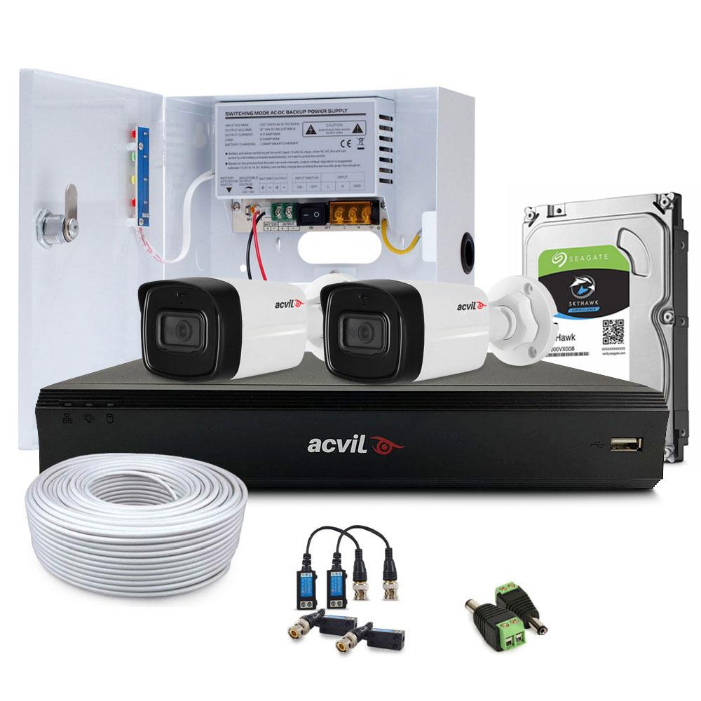 Sistem supraveghere exterior complet Acvil Pro Starlight ACV-C2EXT80-2MP-A, 2 camere, 2 MP, IR 80 m, 3.6 mm, POS, audio prin coaxial, microfon imagine spy-shop.ro 2021