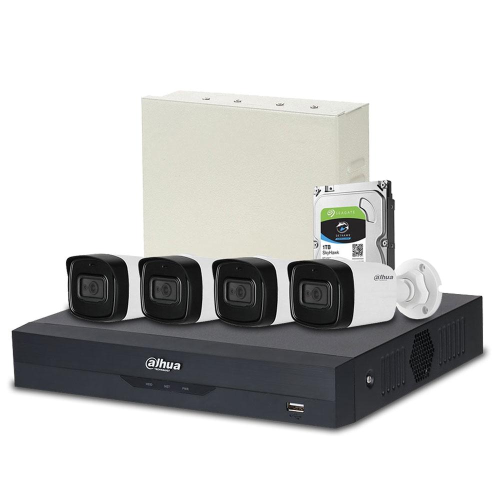 Sistem supraveghere exterior complet Dahua DH-C4EXT80-2MP-M, 4 camere, 2 MP, IR 80 m, microfon incorporat, POS, IoT imagine