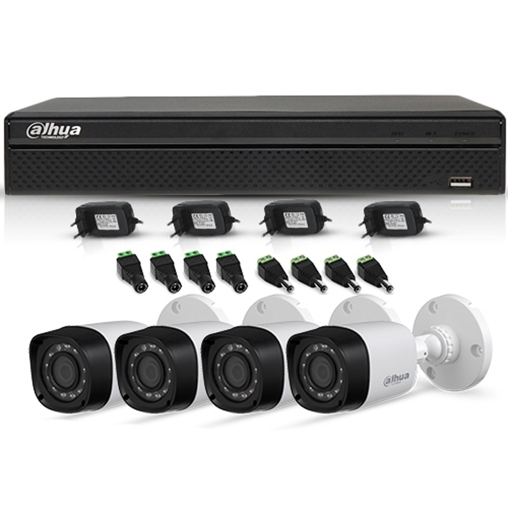 Sistem Supraveghere Exterior Hdcvi Cu 4 Camere Video Dahua Cvi-4ext30-720p