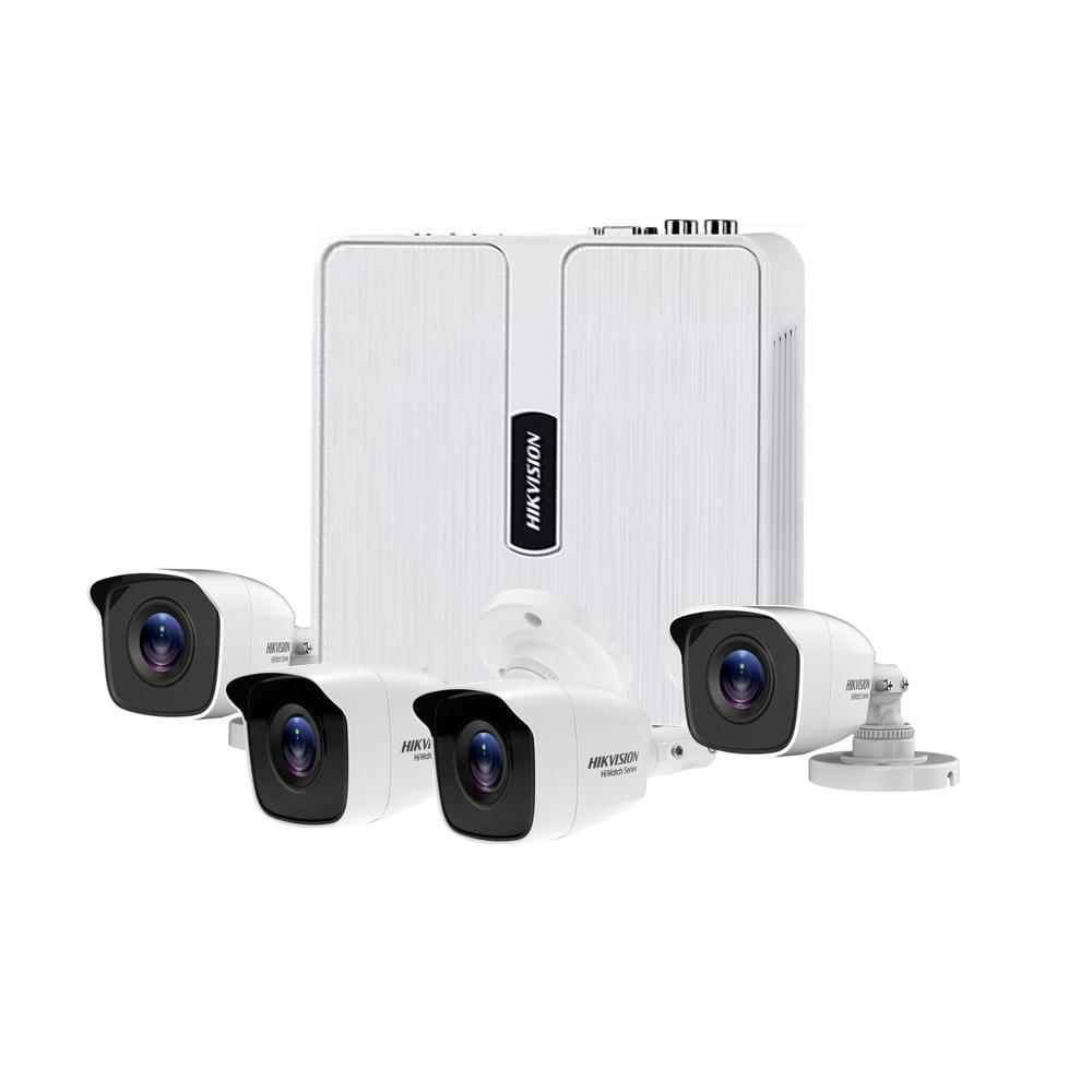 Sistem supraveghere exterior Hikvision HiWatch HWK-T4141B-PP, 4 camere, 1 MP, IR 20 m, 2.8 mm, HDD 1 TB inclus