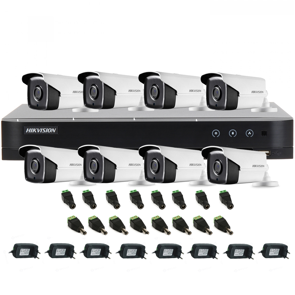 Sistem supraveghere exterior Hikvision TVI-8EXT40-1080P, 8 camere, 2MP, IR 40 m imagine spy-shop.ro 2021
