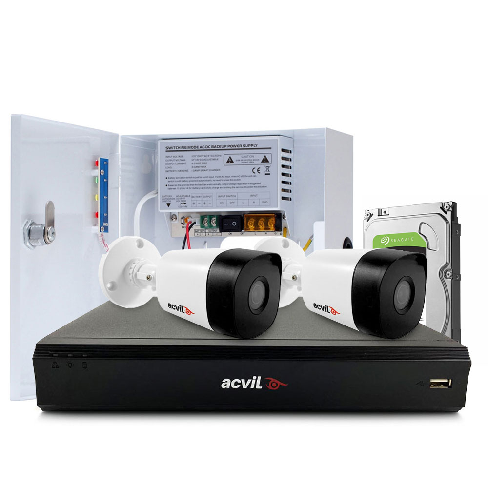 Sistem supraveghere exterior middle Acvil Pro ACV-M2EXT20-5MP-V2, 2 camere, 5 MP, IR 20 m, 2.8 mm, POS, audio prin coaxial imagine spy-shop.ro 2021
