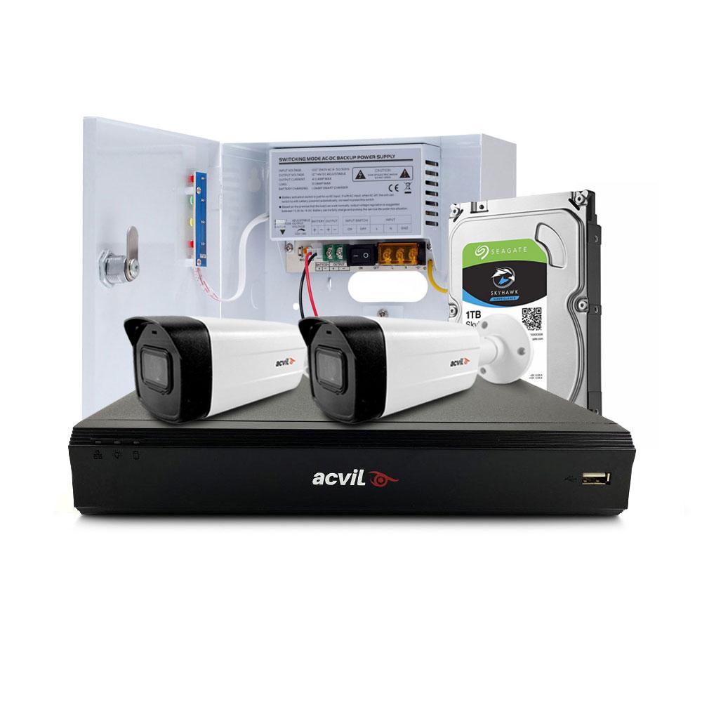 Sistem supraveghere exterior middle Acvil Pro ACV-M2EXT40-4K, 2 camere, 4K, IR 40 m, 2.8 mm, audio prin coaxial imagine spy-shop.ro 2021