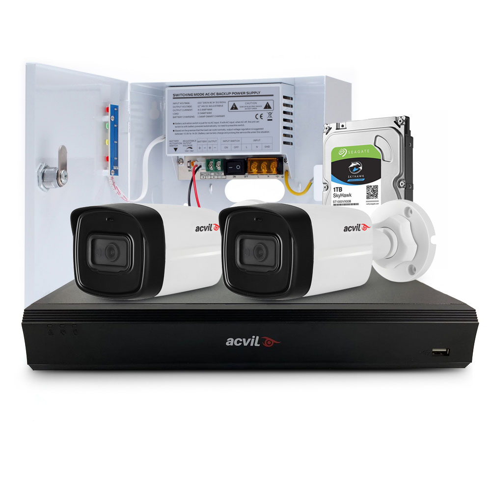 Sistem supraveghere exterior middle Acvil Pro ACV-M2EXT40-5M-V2, 2 camere, 5 MP, IR 40 m, 2.8 mm, audio prin coaxial, PoS imagine spy-shop.ro 2021