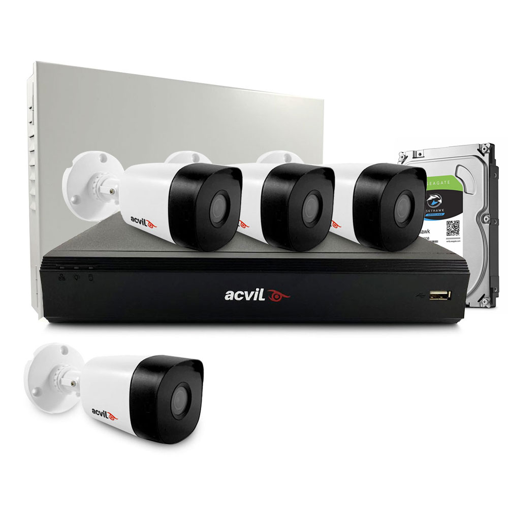Sistem supraveghere exterior middle Acvil Pro ACV-M4EXT20-2MP-V2, 4 camere, 2 MP, IR 20 m, 3.6 mm, POS, audio prin coaxial imagine spy-shop.ro 2021