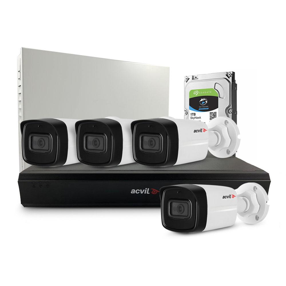 Sistem supraveghere exterior middle Acvil Pro ACV-M4EXT80-2MP-A-V2, 4 camere, 2 MP, IR 80 m, 3.6 mm, audio prin coaxial, PoS, microfon imagine spy-shop.ro 2021