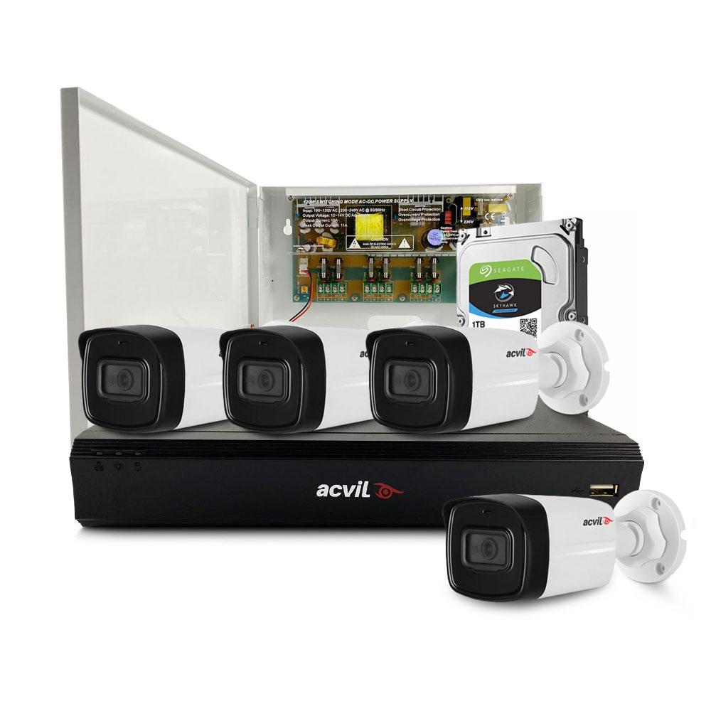 Sistem supraveghere exterior middle Acvil Pro ACV-M4EXT80-5M-A, 4 camere, 5 MP, IR 80 m, 3.6 mm, audio prin coaxial, PoS, microfon imagine spy-shop.ro 2021