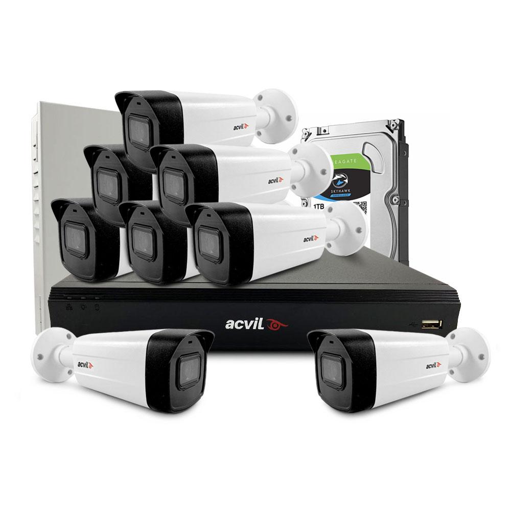 Sistem supraveghere exterior middle Acvil Pro ACV-M8EXT40-4K, 8 camere, 4K, IR 40 m, 2.8 mm, audio prin coaxial imagine spy-shop.ro 2021
