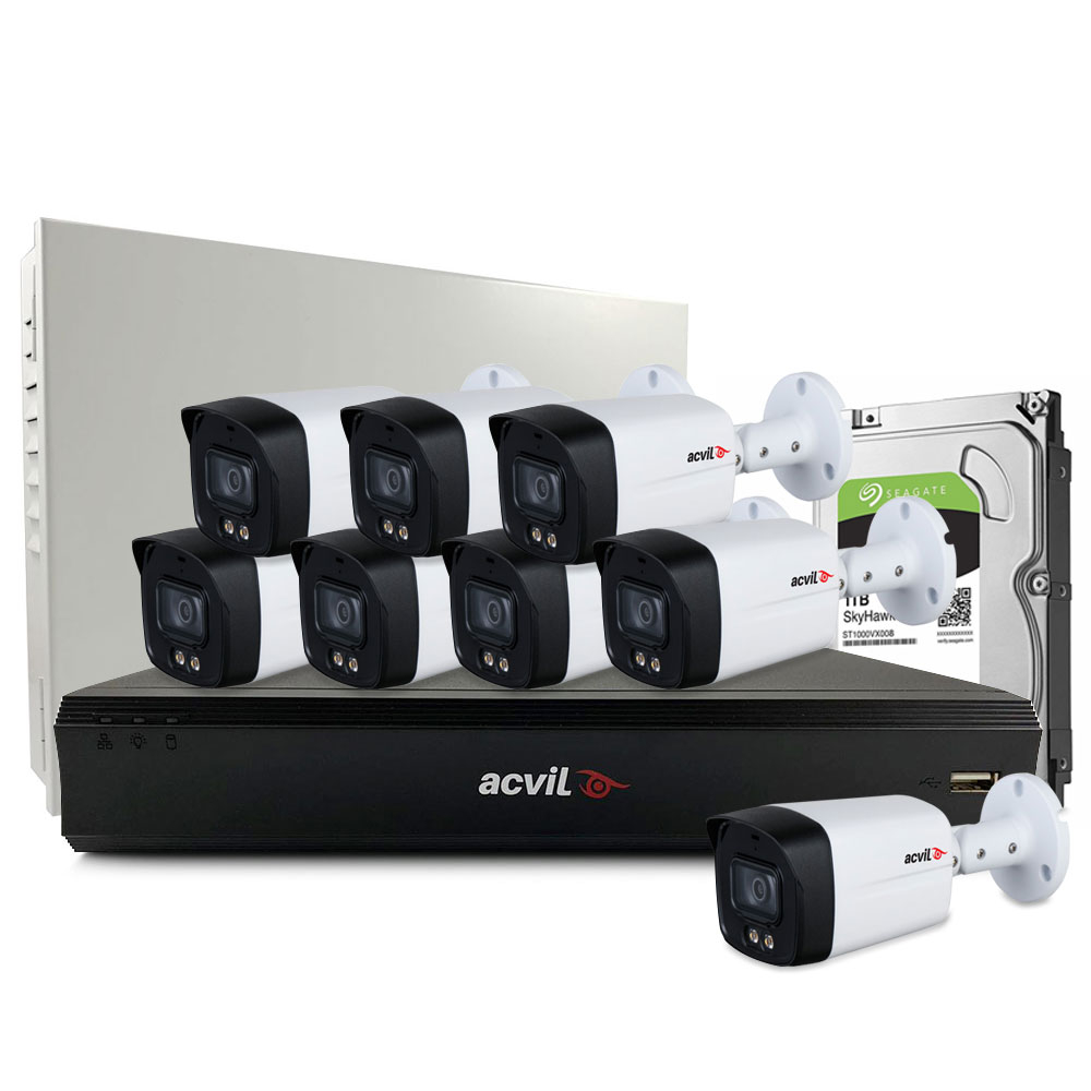 Sistem supraveghere exterior middle Acvil Pro Full Color ACV-M8EXTFC40-5M, 8 camere, 5 MP, lumina alba 40 m, 3.6 mm, audio prin coaxial, microfon imagine spy-shop.ro 2021