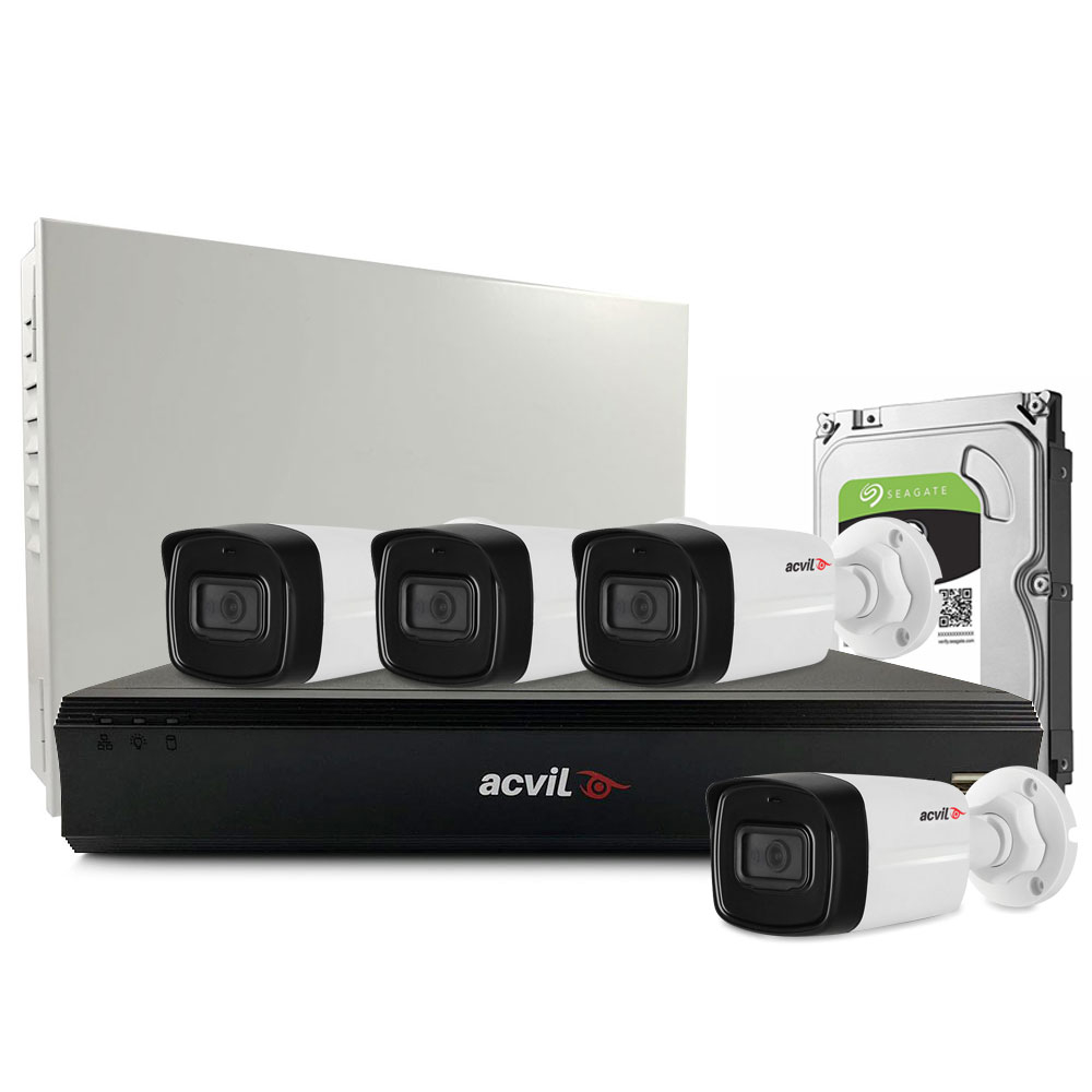 Sistem supraveghere exterior middle Acvil Pro Starlight ACV-M4EXT40-2MP, 4 camere, 2 MP, IR 40 m, 2.8 mm, POS, audio prin coaxial imagine