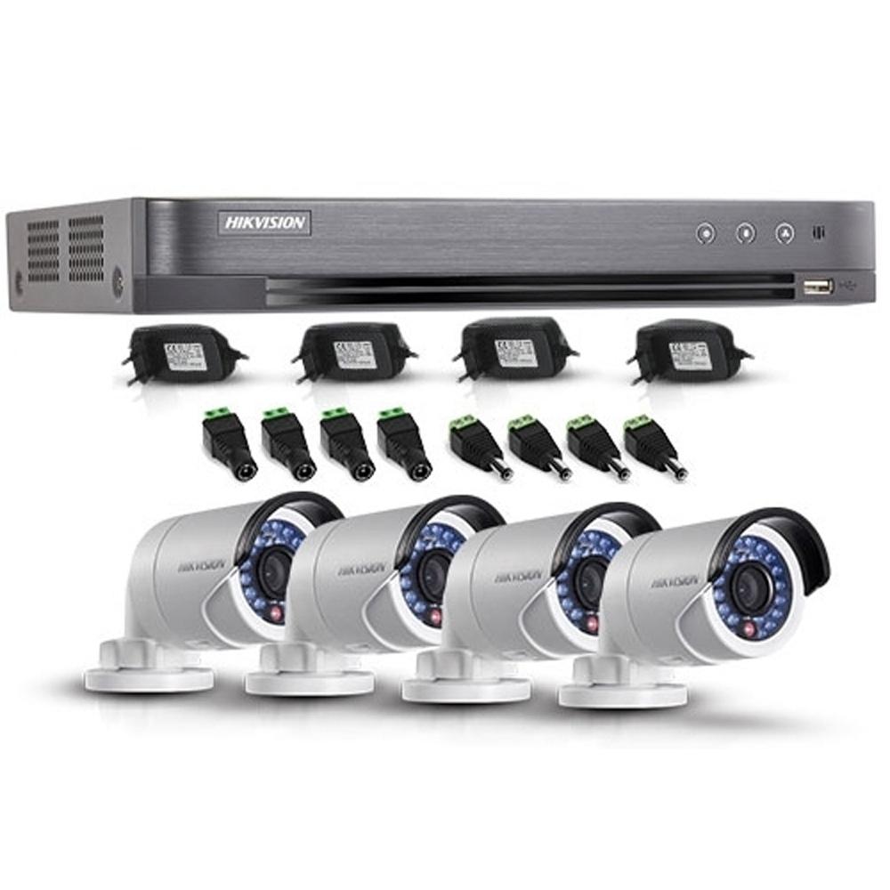 Sistem supraveghere exterior Hikvision TVI-4EXT20-1080P, 4 camere, 2 MP, IR 20 m imagine