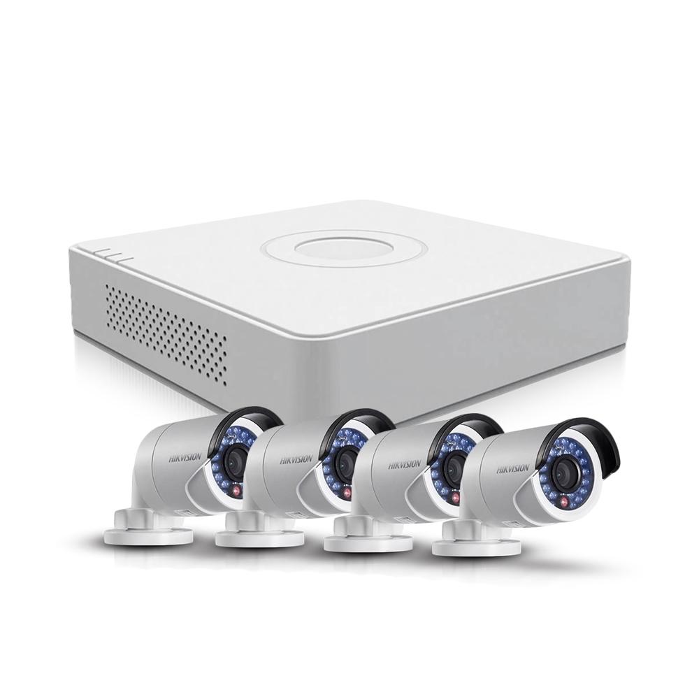 Sistem supraveghere exterior TurboHD Hikvision TVI-4EXT20-720P-S, 4 camere, 1 MP, IR 20 m