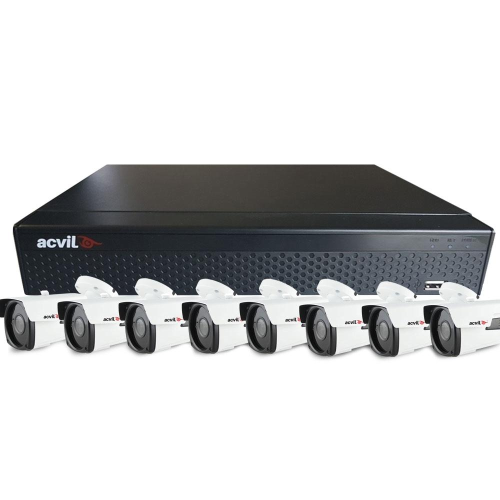 SISTEM SUPRAVEGHERE EXTERIOR XVR CU 8 CAMERE VIDEO ACVIL XVR-8EXT40S-1080P
