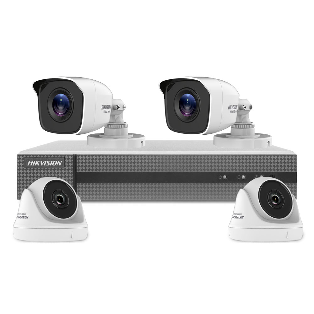 Sistem supraveghere mixt Hikvision HiWatch HWT-T140, 4 camere, 4 MP, IR 20 m, 2.8 mm, HDD 1 TB inclus