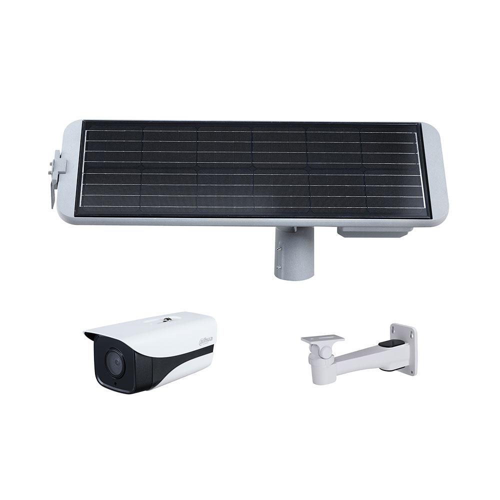 Sistem supraveghere GSM 4G de exterior Dahua KIT/PFM364L-D1/IPC-HFW4230MP-4G-AS-I2/PFB121W cu panou solar, 2 MP, IR 40 m, 3.6 mm, slot card