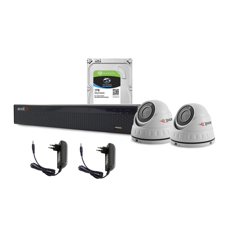 Sistem supraveghere interior complet Acvil C2INT20-2MP, 2 camere, 2 MP, IR 20 m