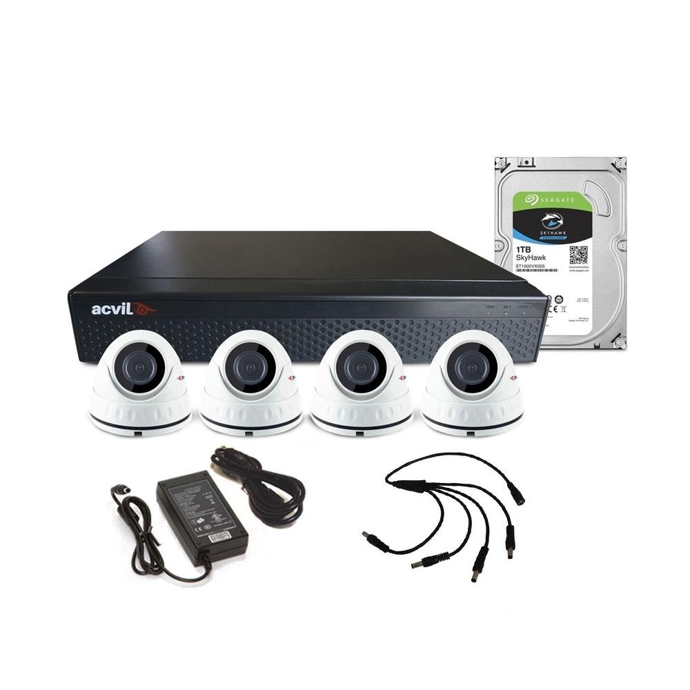 Sistem supraveghere interior complet Acvil C4INT20-5MP, 4 camere, 5 MP, IR 20 m imagine spy-shop.ro 2021