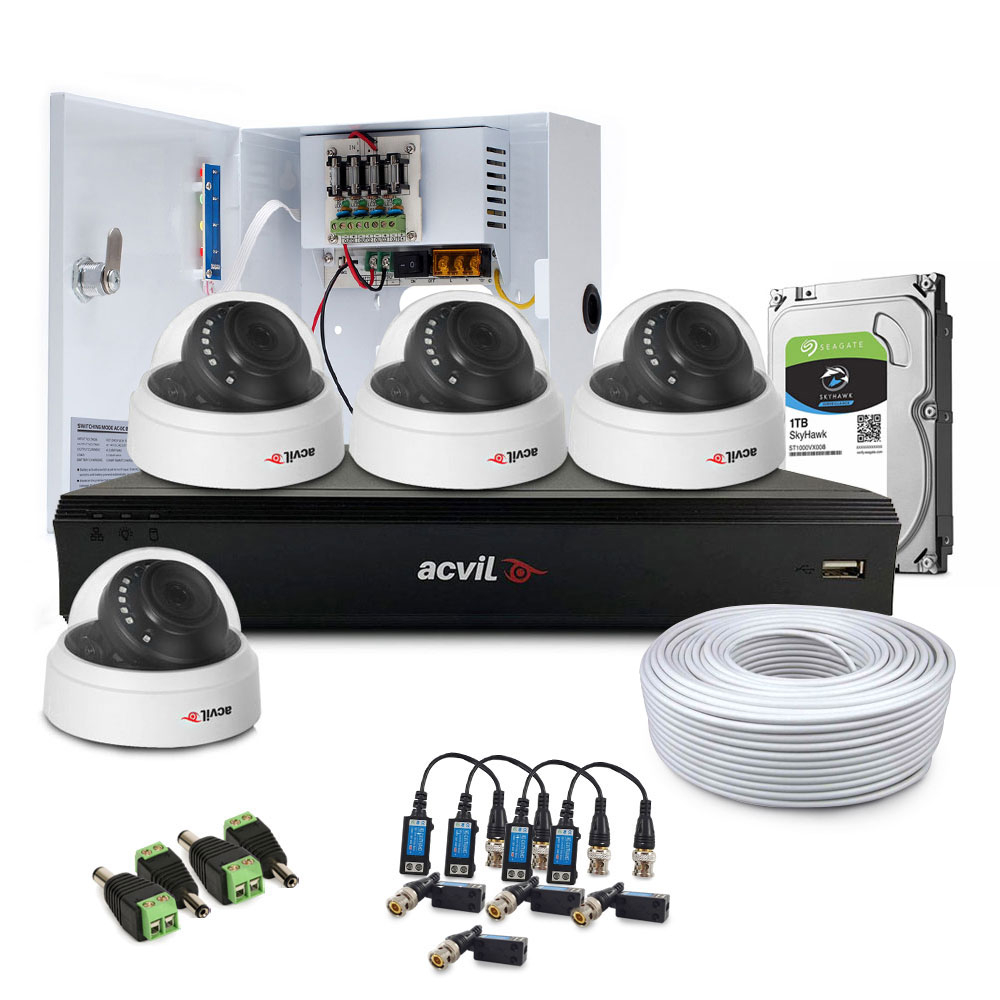 Sistem supraveghere interior complet Acvil Pro ACV-C4INT20-5MP, 4 camere, 5 MP, IR 20 m, 2.8 mm, POS, audio prin coaxial imagine spy-shop.ro 2021