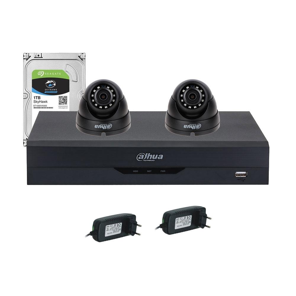 Sistem supraveghere interior complet Dahua DH-C2INT30-2MP, 2 camere, 2 MP, IR 30 m, IoT imagine spy-shop.ro 2021
